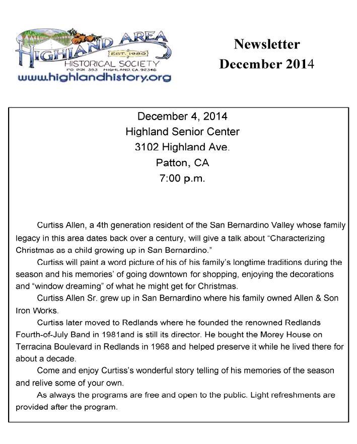 December 2014 HAHS Newsletter