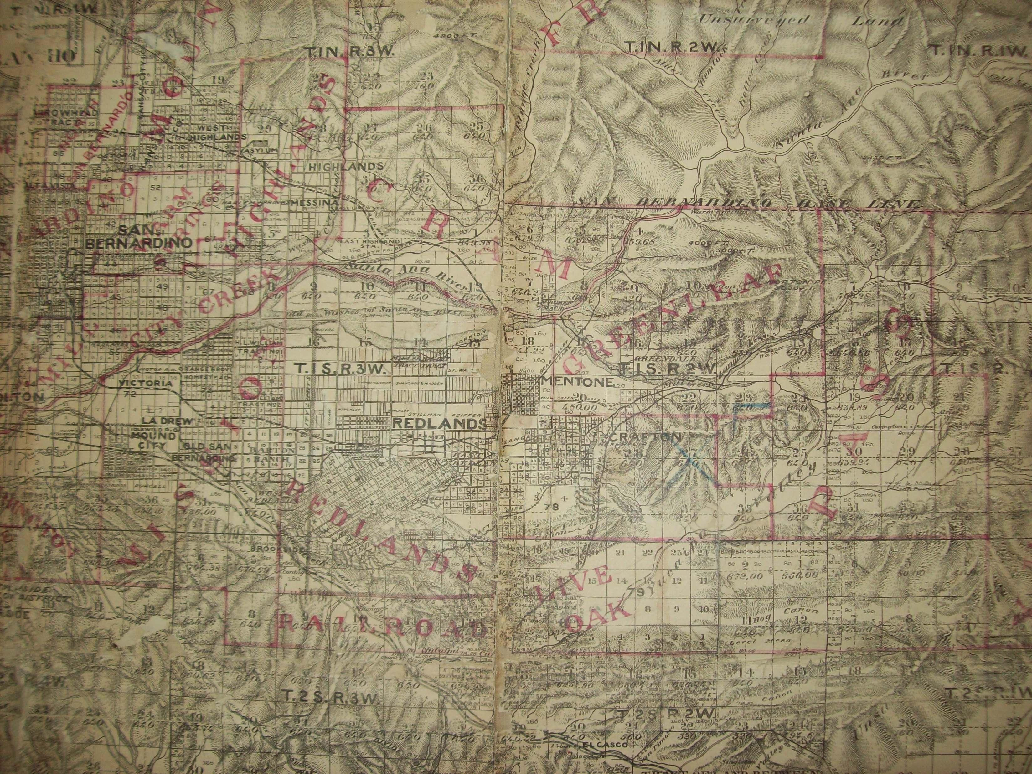 1891 Map of East San bernardino Valley